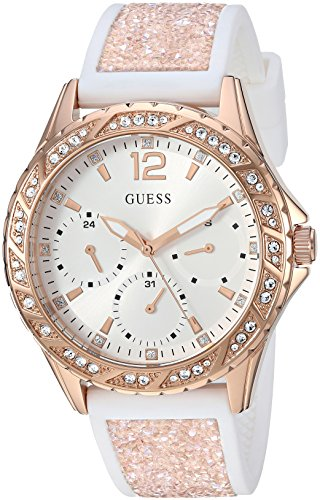 GUESS Women's Stainless Steel Crystal Silicone Watch, Color: White/Rose Gold-Tone (Model: - Watch Gold Guess Rose