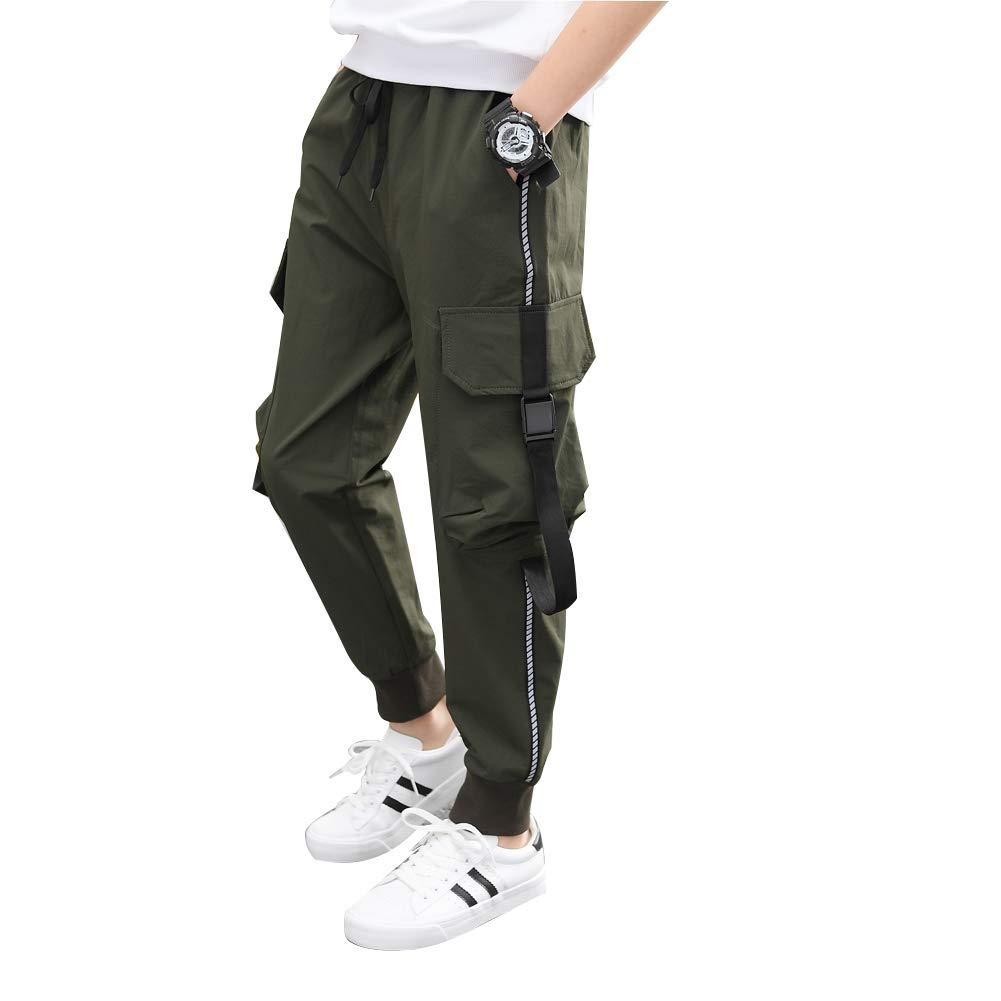 childdkivy Kids Big Boys Casual Cargo Pants Active Outwear Bottoms Dark Green 150 952 by childdkivy