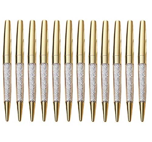 MengRan Shine Gold Pen Diamond Crystal Ballpoint Pens (Pack of 12)(Gold)