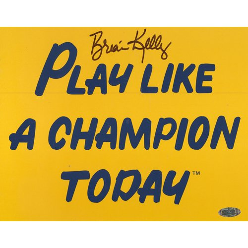 (NCAA Brian Kelly Play Like a Champion Today Autographed 8-by-10-Inch Photograph )