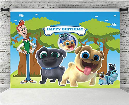 MMY 7x5ft Puppy Dog Pals Backdrop for Birthday Party Baby Shower Boys Kids Photography Background Dessert Table Banner Supplies Photo Booth Props Decoration