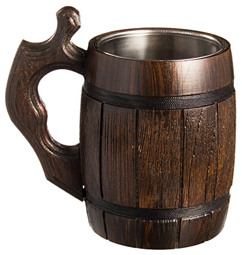 Handmade Beer Mug Set of 6 Wood Natural Stainless Steel Cup Men Gift Eco-Friendly Barrel Souvenir Round Brown by MyFancyCraft (Image #3)