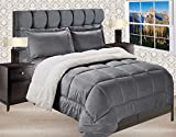 Cal King Vs King Comforter Size Elegant Comfort Premium Quality Heavy Weight Micromink Sherpa-Backing Reversible Down Alternative Micro-Suede 3-Piece Comforter Set, King, Solid Grey