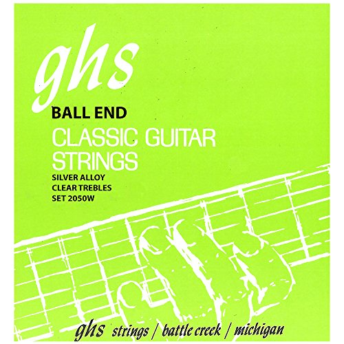 GHS Strings 2050W Ball End Regular, Classical Guitar Strings, High Tension, Silver Copper Basses ()