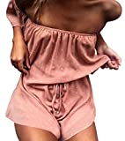 Women Sexy Strap Backless Summer Beach Party Romper Jumpsuit Size M (Pink)