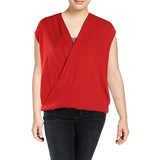LAUREN RALPH LAUREN Womens Plus Sleeveless Surplice Blouse Red 2X at ...