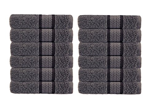 Cotton Craft Ultra Soft 12 Pack Wash Cloths 12x12 Charcoal Weighs 2 Ounces Each - 100% Pure Ringspun Cotton - Luxurious Rayon Trim - Ideal for Everyday use - Easy ()