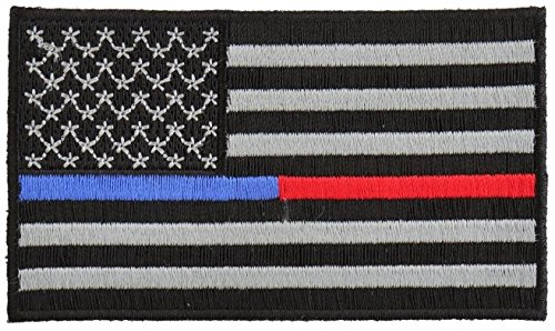 - Law Enforcement - Firefighter Support Back the Blue Red Embroidered Iron-On Patch American Flag Thin Blue Line Flag For Police Firefighter- Cop Firefighter Pride