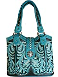 Montana West Concealed Carry, Boot Scroll Scoop Top Tote -Turquoise