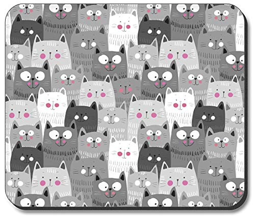 Art Plates Mouse Pad - Gray & White Cat Toss ()