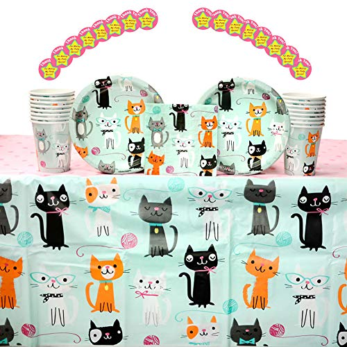 (Purr-FECT Birthday Party Supplies Pack for 16 Guests: Stickers, Dessert Plates, Beverage Napkins, Table Cover, and Cups)