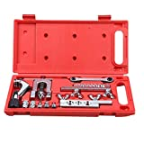 Wostore Flaring Tool Kit (Professional Grade Set) Heavy Duty Steel Flaring Tools Kits for Copper,Plastic,Aluminum,Brass and Stainless Steel Pipe,Swage Tool Tubing Cutter and Ratchet Wrench