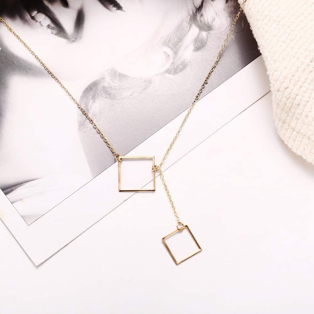 Simple Geometric Lariat Necklace Y Gold Chain Necklace for Women Fashion Thin Chain Pendant Drop Sweater Chain