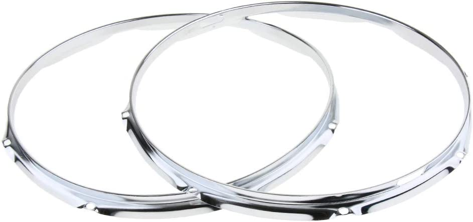 as described Practical 2x Iron 14inch Die Cast Hoops Rims For Snare Drum Replacement Part 8 Holes