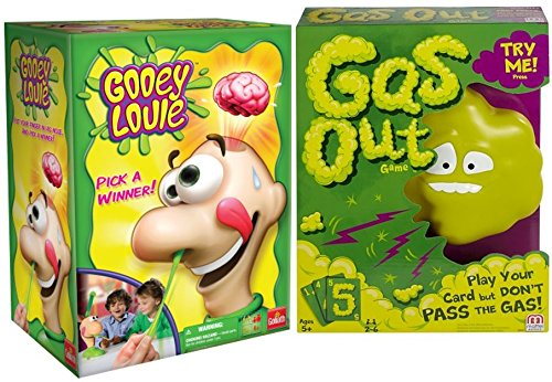 Gooey Louie and Gas Out Board Games Bundle for Kids and Families by Goliath and Mattel