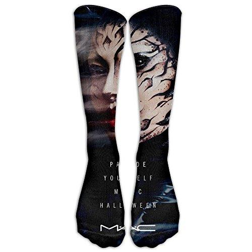 Men Women Halloween Makeup Face Premium Calf High Socks Athletic Soccer Crew Tube Sock Stockings Sports Outdoor -