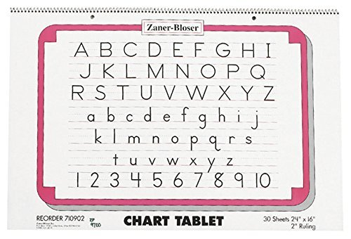 Manuscript Ruled Cover 1/2 - Zaner-Bloser ZP9700 2-Hole Punched Manuscript Cover Spiral Bound Chart Tablet, Size, 30 Sheets, 2