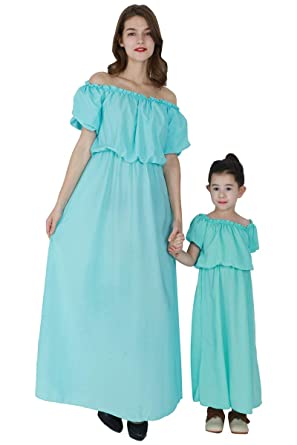 203f2383bd YMING Mother and Daughter Dress Outfit Summer Off Shoulder Chiffon Long Maxi  Dress Green S