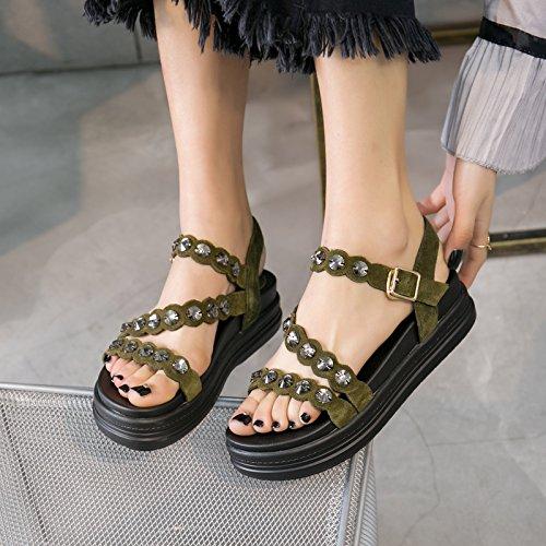Xing Lin Sandalias De Cuero Verano Nuevo Sandalias Mujer Rhinestone Bizcocho Zapatos Casual Pendiente Con Hebilla Gruesa Roma Zapatos Mujer Dark green