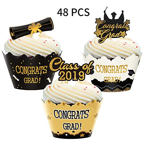 Graduation Cupcake Toppers Wrappers, Congrats Grads Cake Topper for Graduation Party Supplies Decoration,48pcs