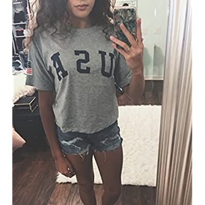 SweatyRocks Women's Letter Print Crop Tops Summer Short Sleeve T-Shirt at Women's Clothing store