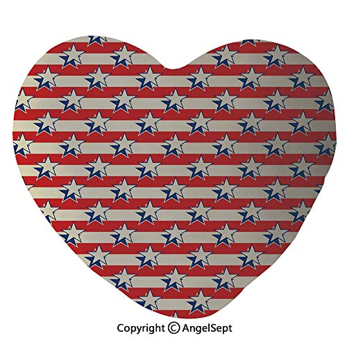 AngelSept Heart Shaped Throw Pillows Nostalgic Independence Day Poster Pattern with Large Stars Western Graphic Home Sofa Cushion Couple Gifts, for Her,Party Decoration(45x50cm),Eggshell Red -
