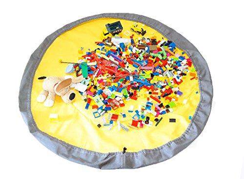 Spieldecke Spielmatte Spielzeug Aufbewahrung Krabbeldecke Aufräumsack Spielzeugsack Beutel Tasche 2 in 1 (Blau - Mint) Cristal