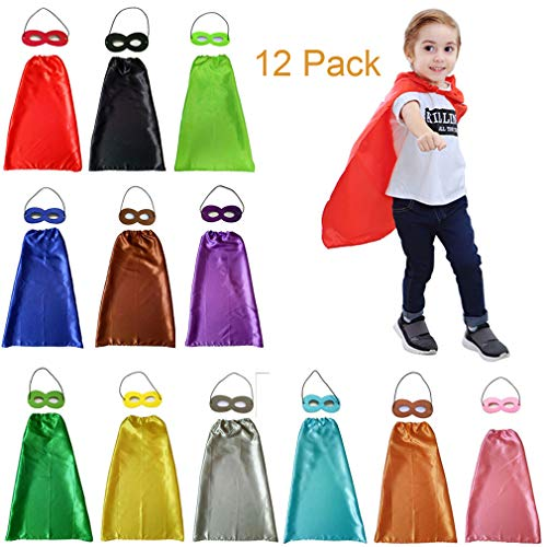 YIISUN Childs Cape Kids Capes and Masks Birthday Party Dress Up (12 Pack) ()