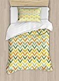 one direction bed set for boys - Ambesonne Chevron Duvet Cover Set Twin Size, Retro Countryside Colors Zigzags in Vertical Direction Striped Composition, Decorative 2 Piece Bedding Set with 1 Pillow Sham, Green Yellow Orange