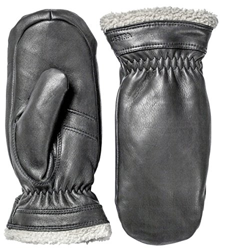 (Hestra Leather Gloves for Women: Sheepskin Winter Cold Weather Mitten with Fur Cuff, Black, 8)