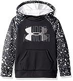 Under Armour Girls' Armour Fleece Big Logo Printed Hoodie, Black (002)/White, Youth X-Small