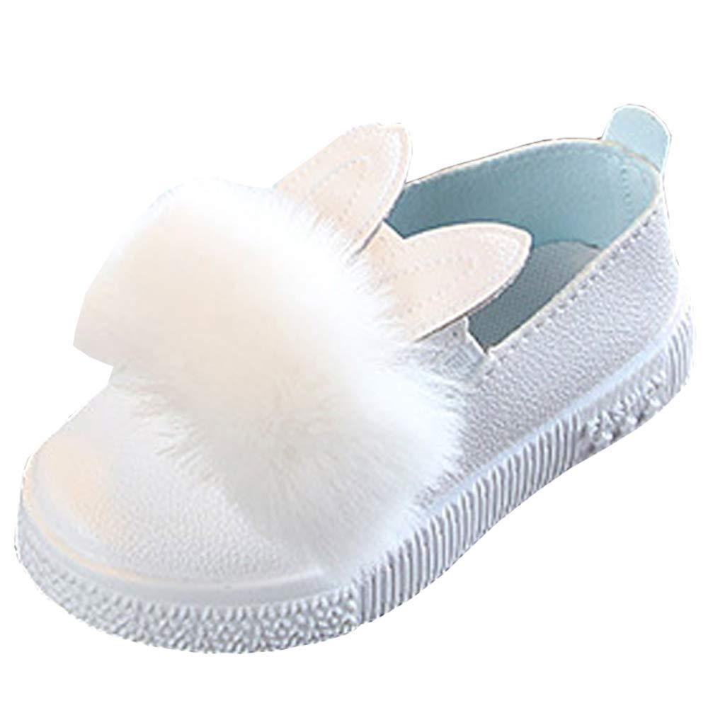 Lovirs Girls White Casual Slip On Fur Ballerina Cute Flats Toddler Shoes 9 M US