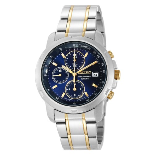 Seiko Men s SNDB05 Two-Tone Stainless Steel Chronograph Blue Dial Watch