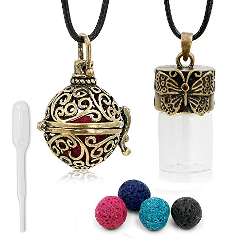 "Essential Oil Diffuser Necklace Aromatherapy Diffuser Pendant + Bottle ""Antique Bronze Style"" with 4 Multi-Colored Lava Stone, 1 Dropper, 24 Inches Adjustable Long Wax Rope Retro Roller Ball"