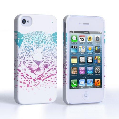 Caseflex Coque iPhone 4 / 4S Etui Bleu / Pourpre Léopard Éclaboussement Dur Housse