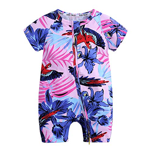 Kids Tales Baby Girls Short Sleeve Cotton Pajamas Infant Flower Zipper -