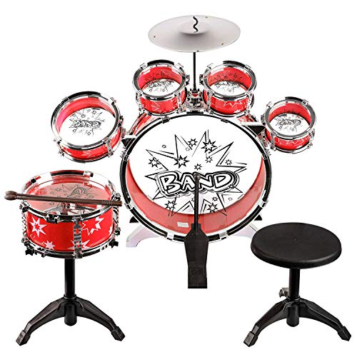 URBAN KIT Kids Musical Drum Instrument Set | drum sets for toddlers | toy drums for kids |drum set for baby boys | band set for kids | girls toy-Red
