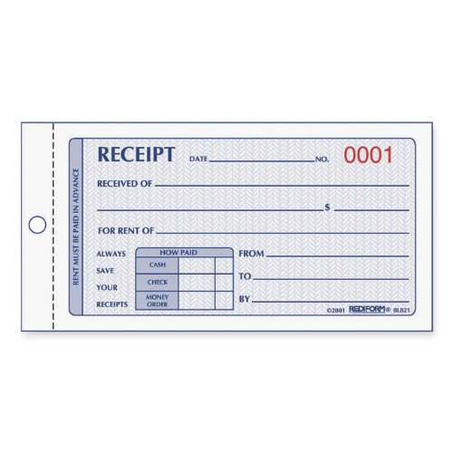 (Rediform Rent Receipt Book, Carbonless, 2.75 x 5 Inches, 50 Duplicates (8L821))