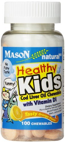 Mason Vitamins Healthy Kids Cod Liver Oil and Vitamin D, Tasty Chewable Orange Flavor, 100-Count by Mason Vitamins