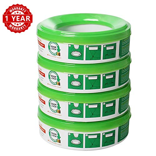 ALIKEY Diaper Genie Refills 4-6 Months Supply,280 Count -Pack of 4 (Green)
