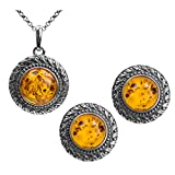 Amber Sterling Silver Victorian Style Round Set Stud Earrings Pendant Necklace Chain 18''