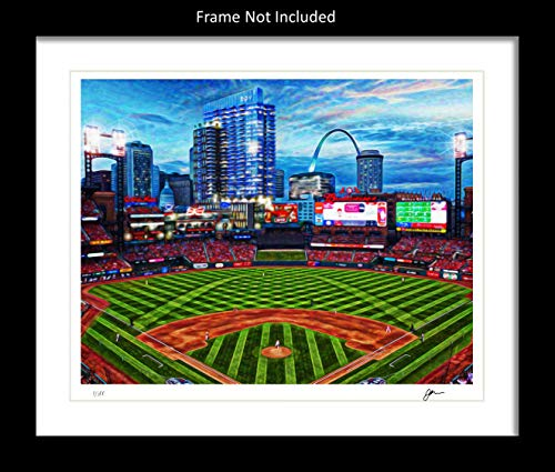 St. Louis Cardinals Wall Decor Art Print. Home Décor Painting Memorabilia. Busch Stadium. Gift Idea For Any Fan Men Women Father's Day Birthday Bedroom Home Bathroom Man Cave. 8x10. Frame (St Louis Cardinals Stadium Seats)