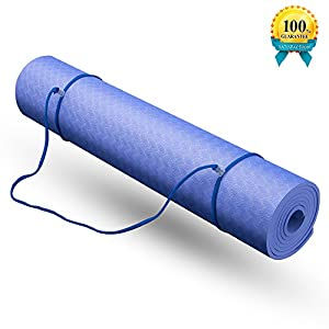 "Yoga Mat, with Carrying Strap and Bag 1/4-inch(72"" x 24"") Textured Non-Slip Surface SGS Certified TPE Eco-Friendly Non-Toxic Material High Density Anti-Tear Optimal Cushioning Yoga and Exercise Mat"