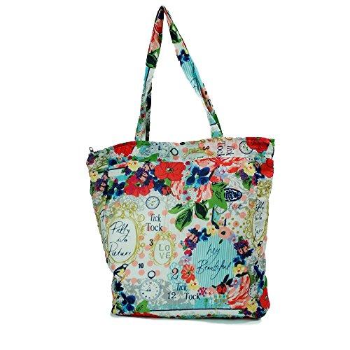 Handtasche Tick Tack Love 100% Baumwolle mit tragegriff und reißverschluss