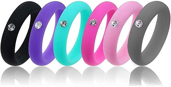 LOYOFO Silicone Wedding Ring for Women 5.7mm Rhinestone Silicone Rings Rubber Bands Hypoallergenic Crossfit Flexible Silicone Finger Ring