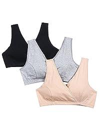 STELLE Women's Soft Cotton Wireless Nursing Sleep Bra For Maternity/Breast Feeding
