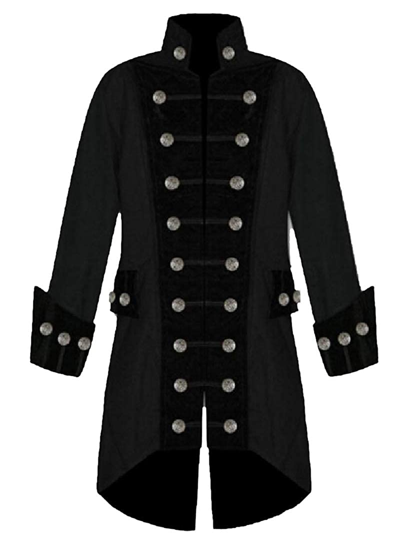 Abetteric Mens Deluxe Double Breasted Medieval Irregular Trench Coat