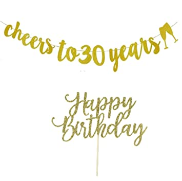 30th Birthday Banner Decorations Gold Glitter Cheers To 30 Years With