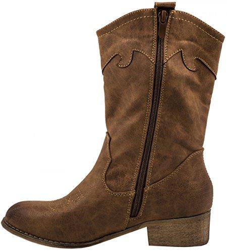 Chunkyrayan Cuir Pour Elara Bloc Femmes Fermeture Talon Camel Bottes Cowboy Doublure Confortables Bottines Aspect Éclair fBYggO