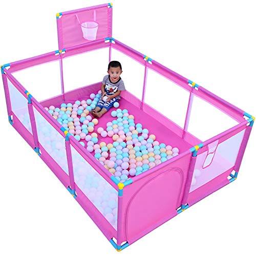 Gran parque infantil con aro de baloncesto Valla plegable Piscina de bolas corral Niños Niñas tabique Rosa, 190 * 128 *...